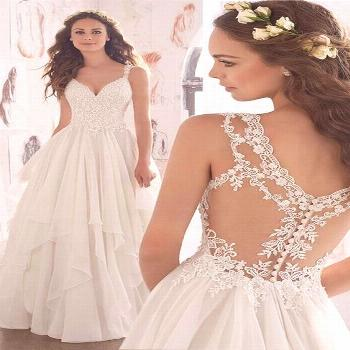 [187.99] Amazing Tulle & Chiffon V-Neck A-Line Wedding Dresses With Beaded Lace Appliques -  Amazin