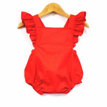 Fabulous Vintage Style, Retro Baby Girl Red Romper with Flutter Sleeve and Ruffles  Best quality ch