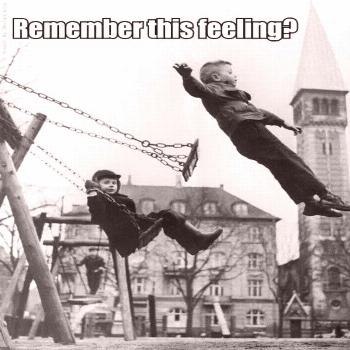 I did this all the time!  I also vividly remember getting my long hair tangled in those metal chain