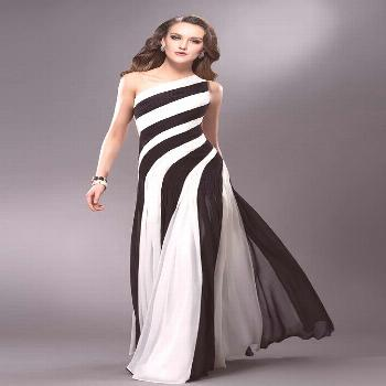 New One-Shoulder Ruched Hollow Evening Dress 2020 Black White Chiffon Prom Dresses Evening Party Go