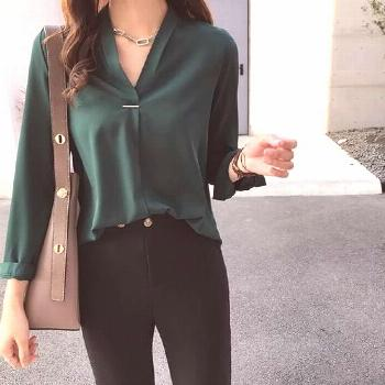 Now Autumn Spring Women Tops and Blouses Chiffon Blouse Long Sleeve Shirtsrricdress -