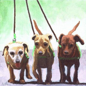 Painting - Family Ties - Chihuahuas Dog Painting by Linda Apple ,