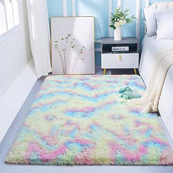 Quenlife Super Soft Colorful Rainbow Area Rugs for Girls