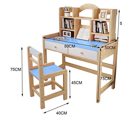 Adjustable Height Wooden Student Desk and Chair Set with